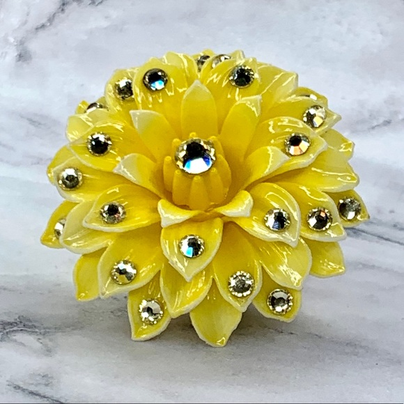 Tarina Tarantino Yellow Dahlia Vintage Flower Ring